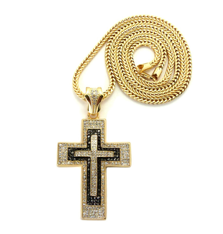 Mens Iced Out Black Clear Stone Block Cross Pendant Gold