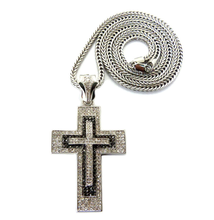 Mens Iced Out Black Clear Stone Block Cross Pendant Silver