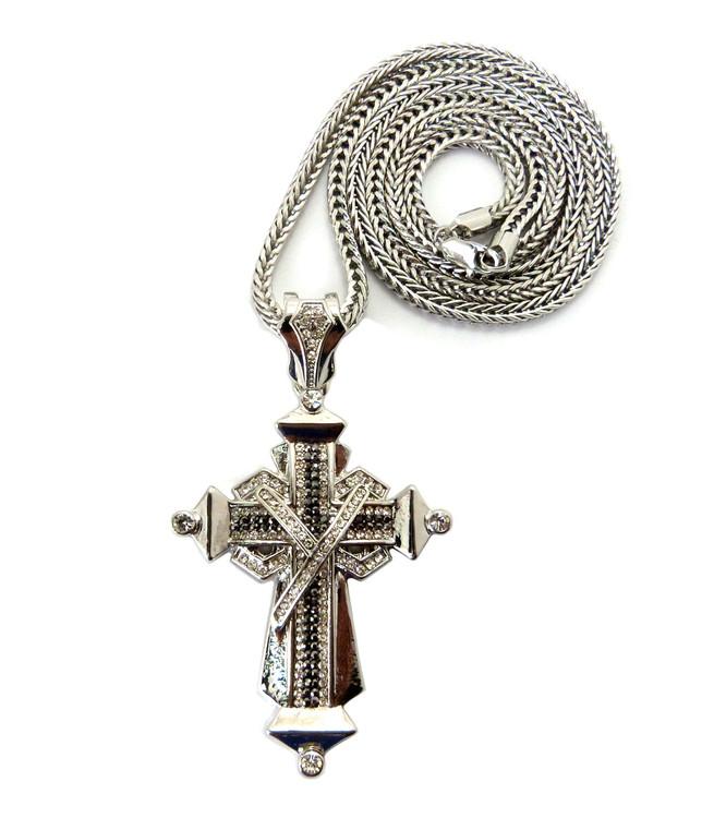 Mens Hip Hop Black & Clear Stone Ribbon Cross Silver