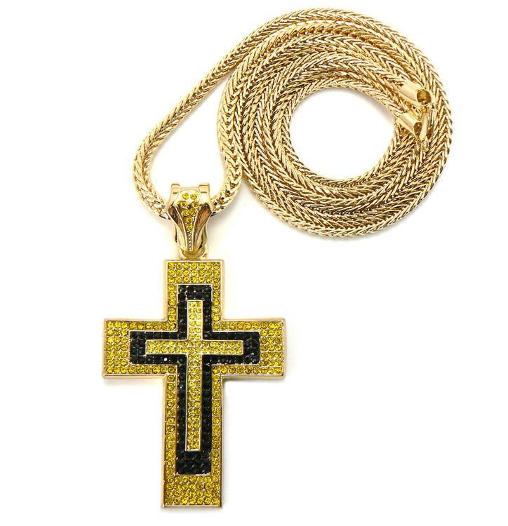 Black Yellow Stone Cross Pendant