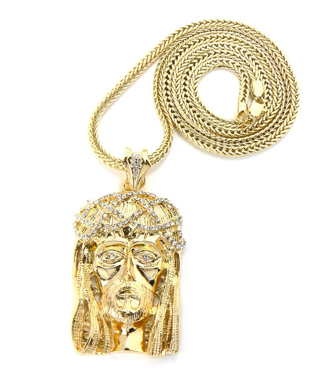 Crown Of Thorns Hip Hop Jesus Piece Pendant Classic Gold