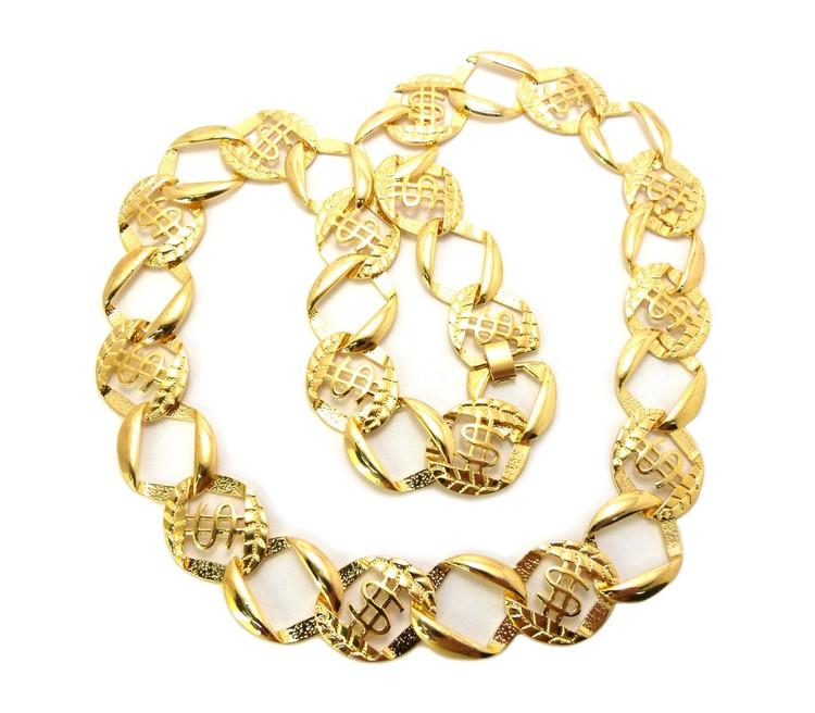 Mens Hip Hop Dollar Sign Cash Money Link Bling Chain Necklace