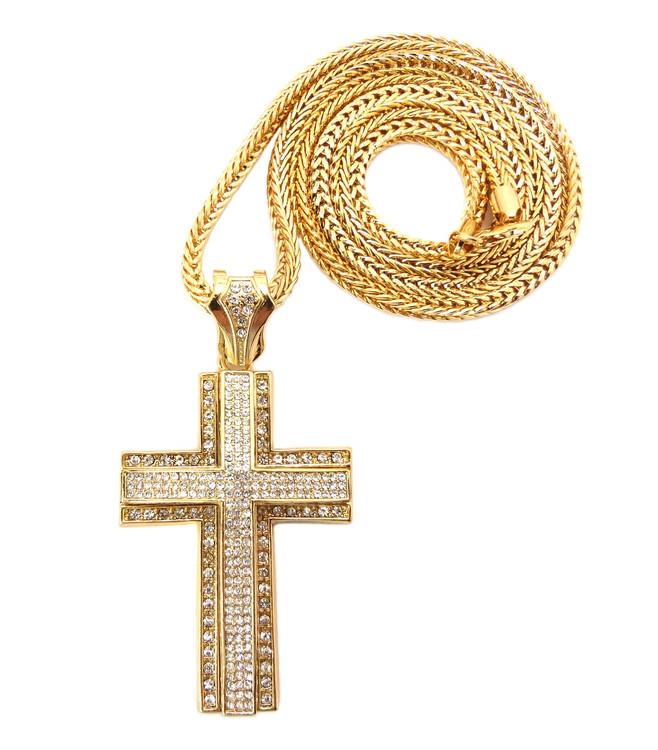 Mens Hip Hop 3D Arc CZ Stone Cross Pendant & Chain Gold
