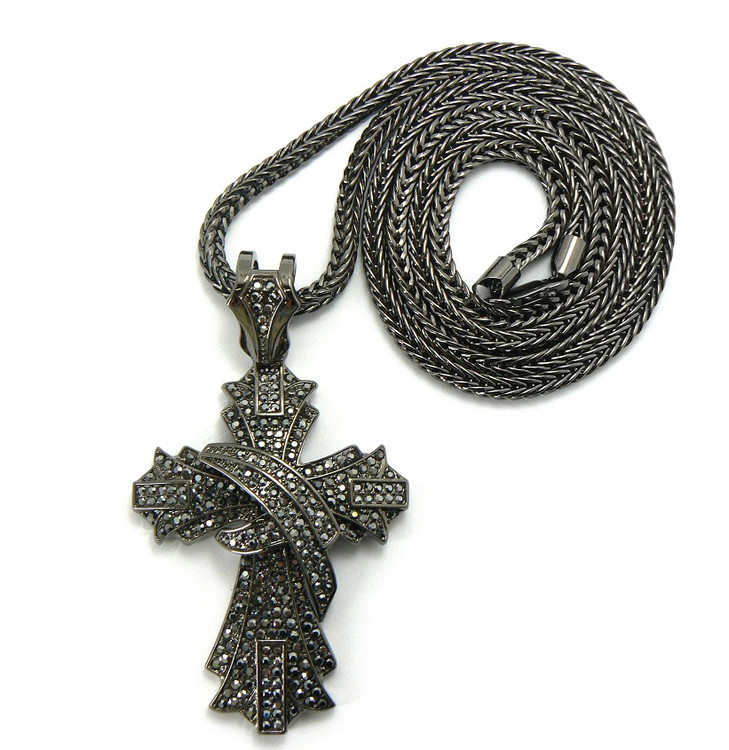 Mens Hip Hop Crusade Cross Pendant Chain Black