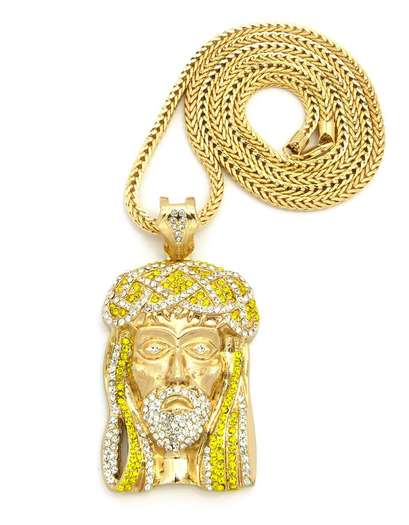 Crown Of Thorns Hip Hop Jesus Piece Pendant Canary Gold