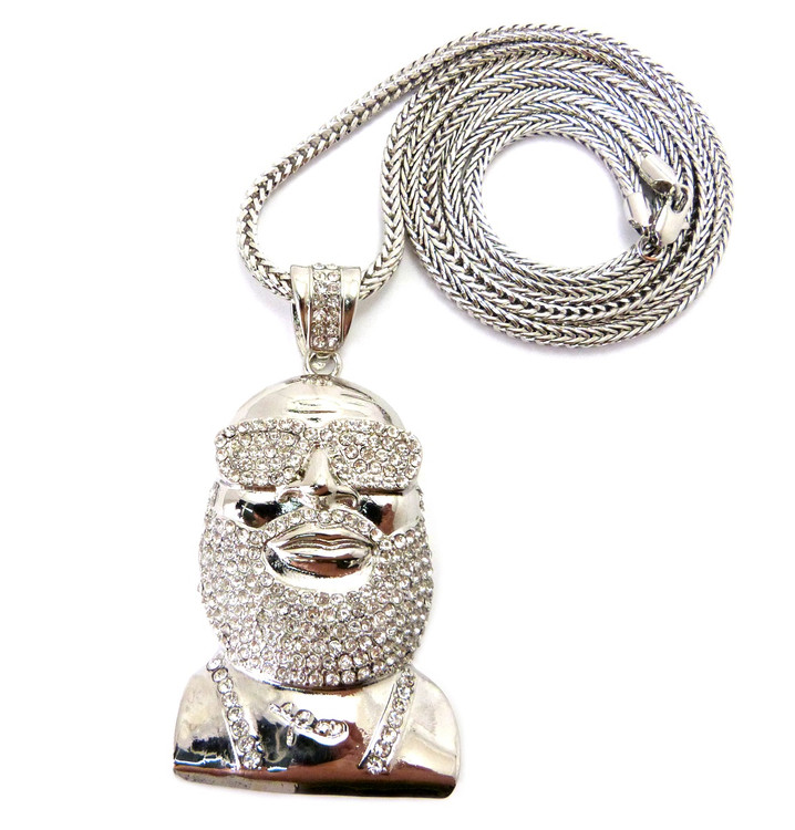 Hip Hop Rick Ross Inspired Medallion CZ Chain Pendant Silver