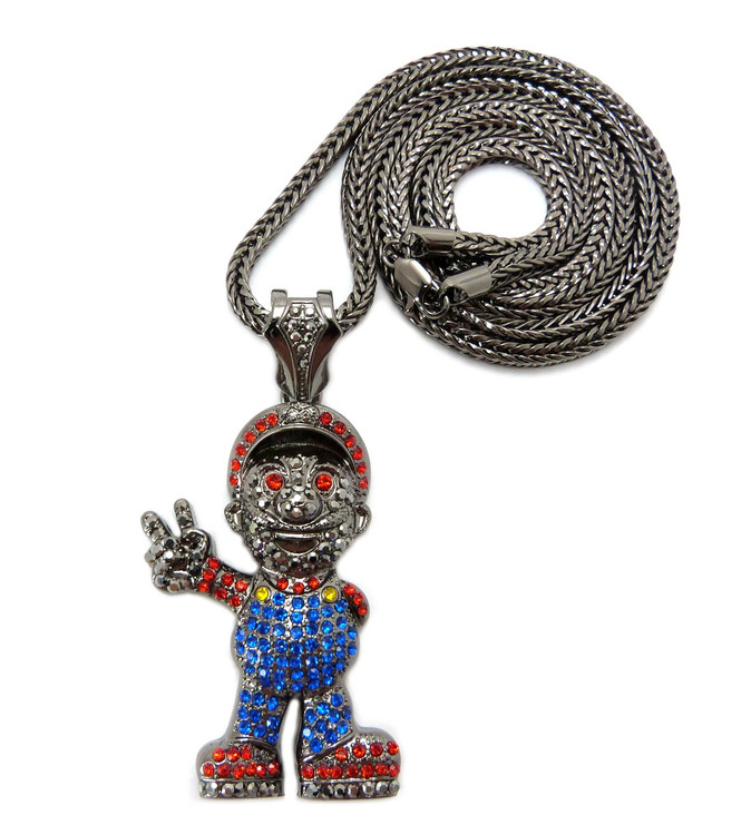 Mens Mario Inspired Hip Hop Chain Pendant Black
