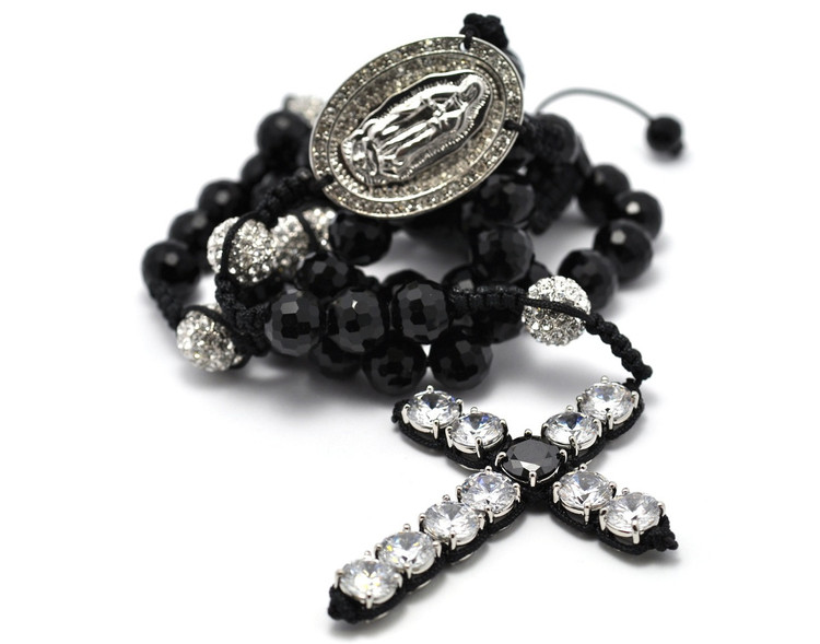 Men's Hip Hop Silver Rosary Beads Disco Ball Cross Chain Necklace
