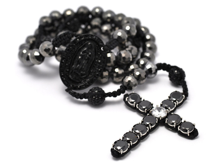 Men's Hip Hop Black Hematite Rosary Beads Disco Ball Cross Chain Necklace