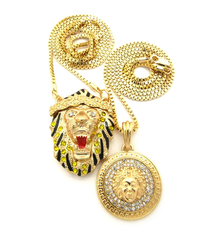 Micro Big Sean Inspired Lion Head Medusa Pendant Chain Set