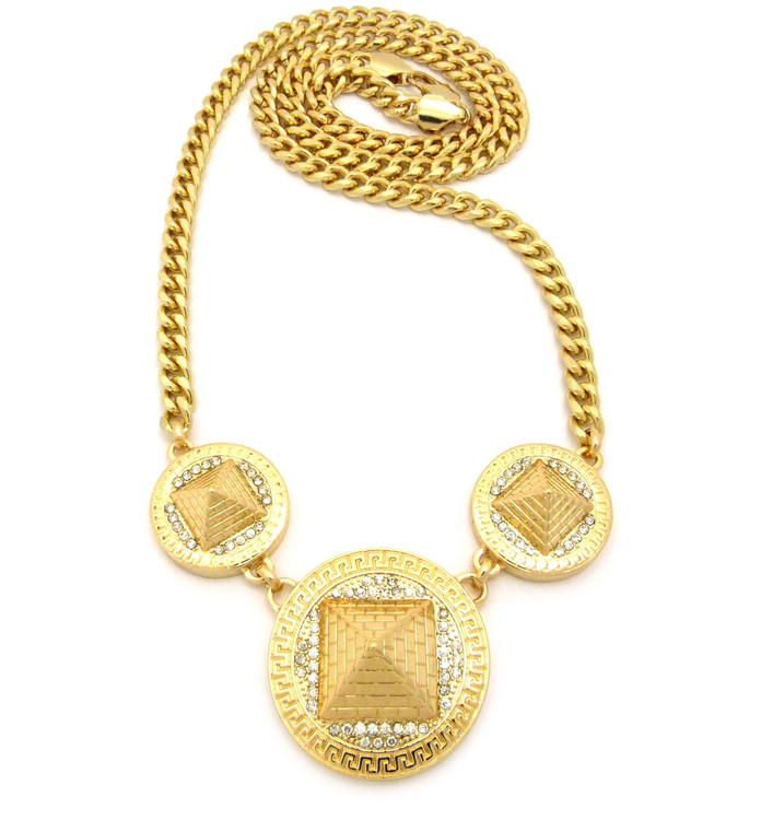 Men's Hip Hop 3D Egyptian Pyramid Cz Chain Necklace