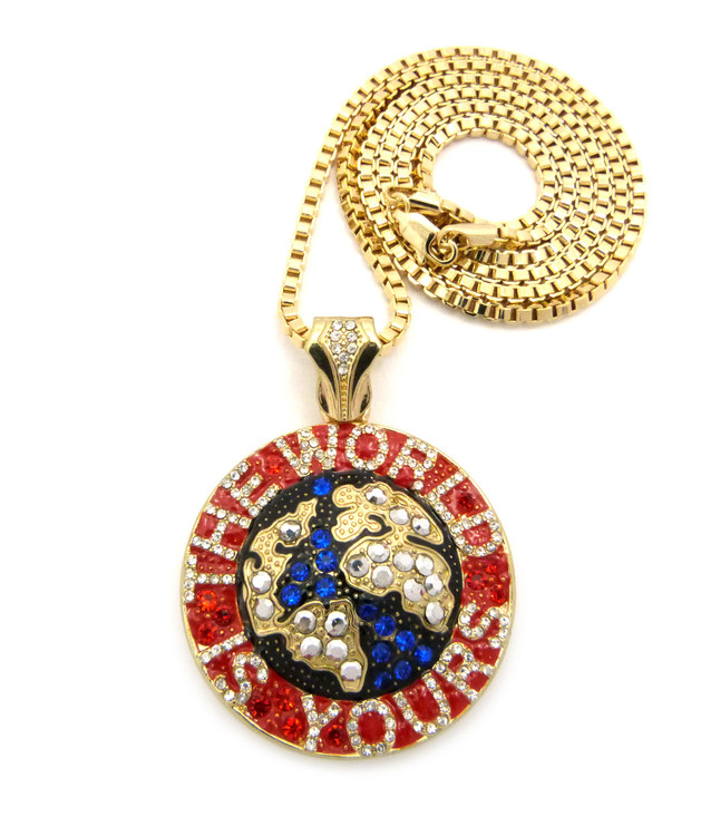Iced Out The World is Yours Scarface Hip Hop Chain Pendant Red