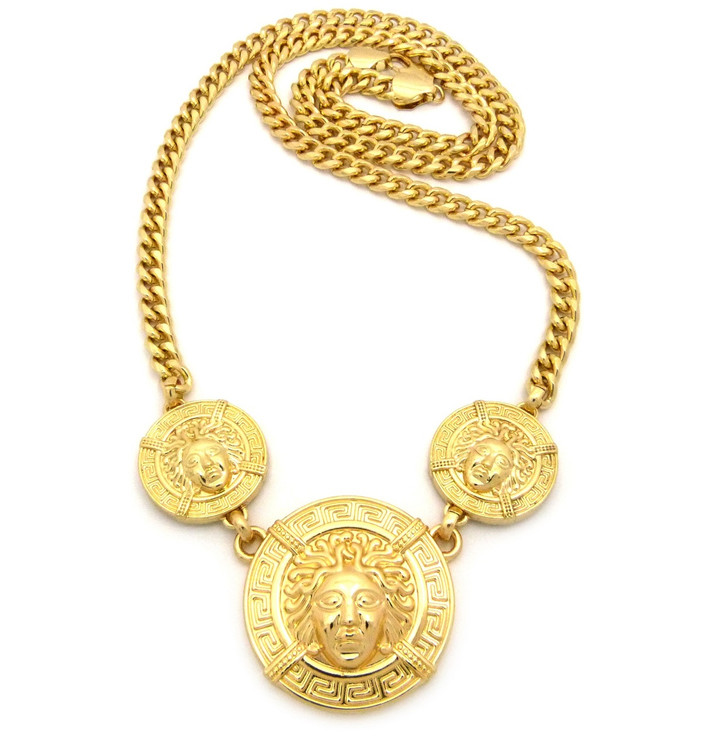 Men's 14k Gold Hip Hop 3 Head Medusa Medallion Chain Pendant