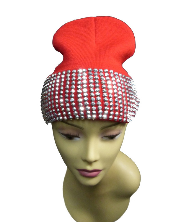 Silver Studded Ladies Celebrity Style Red Beanie Hat