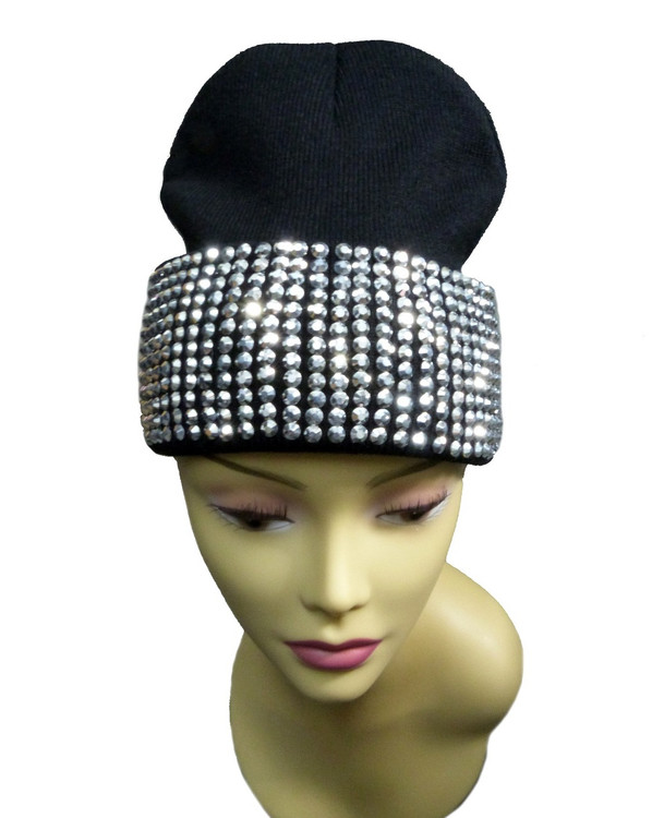 Silver Studded Ladies Celebrity Style Black Beanie Hat