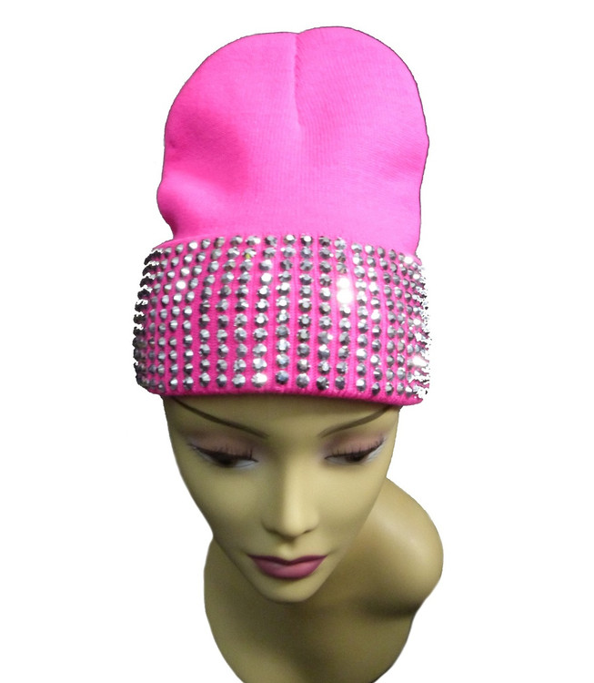 Silver Studded Ladies Celebrity Style Pink Beanie Hat