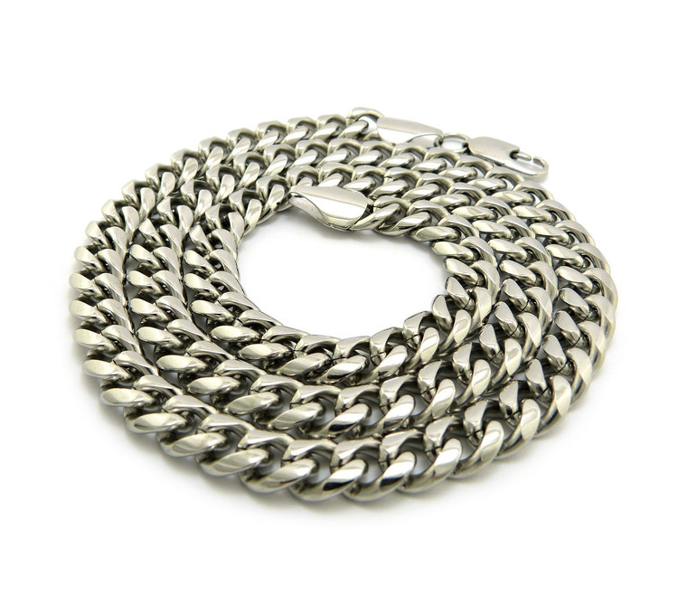 Mens Stainless Steel Miami Cuban Link Chain Necklace 8mm 36""