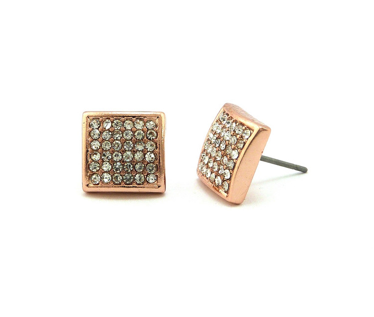 Mens Hip Hop Rose Gold Square Cut Bling Earrings