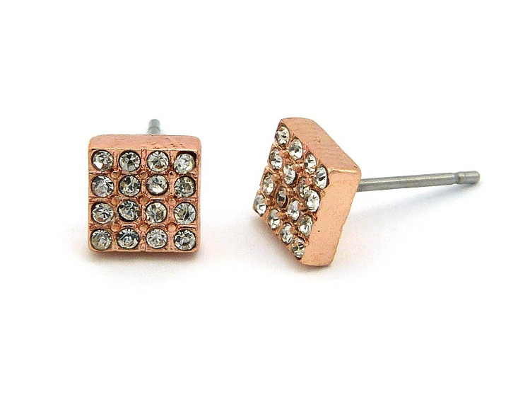 Hip Hop Rose Gold Box Cut Bling Simulated Diamond Earrings