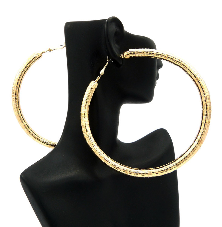 "3.75"" Womens Classic Big Hoop Earrings Gold"