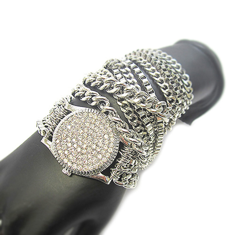 Ladies Celebrity Style Watch Style Bracelet Silver