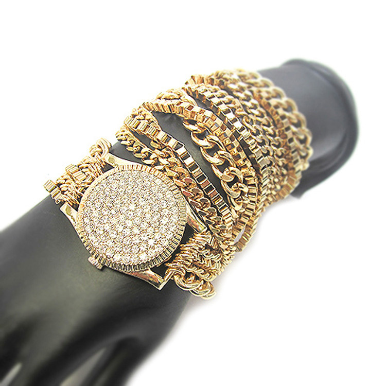 Ladies Celebrity Style Watch Style Bracelet Gold