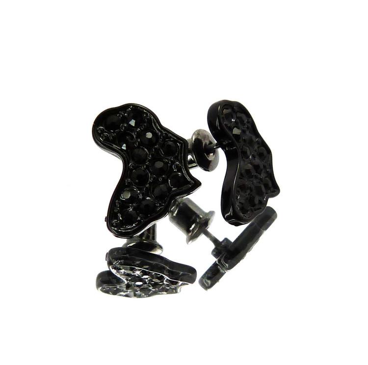 Mother Africa Hip Hop Cz Stone Earrings Black