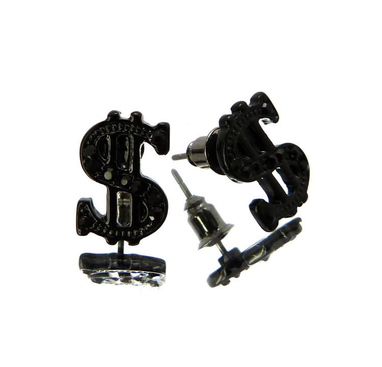 Cash Money Dollar Sign Hip Hop Cz Stone Earrings Black