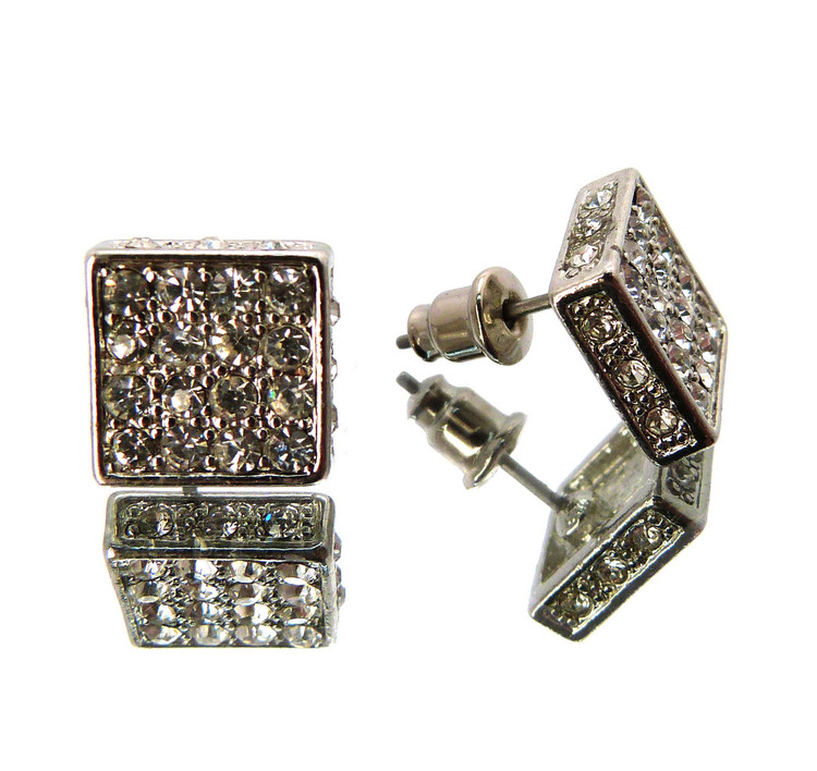 Iced Out Square Cut Cz Stone Hip Hop Earrings Silver