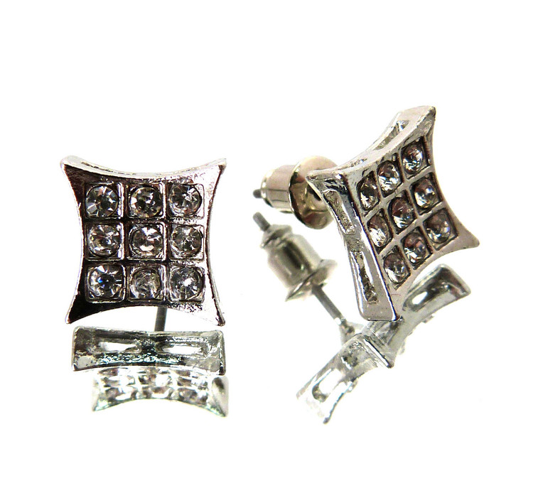Concave Nine Cut Iced Out Bling Rapper Star Earrings