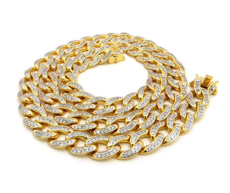 Diamond Cz Hip Hop 14mm Cuban Link Bling Chain Necklace