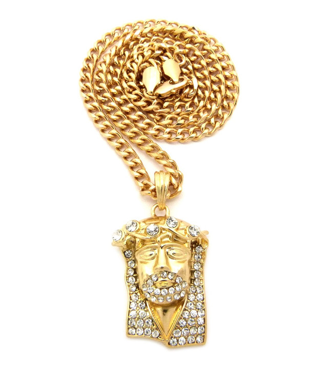 Mens Iced Out Diamond Cz 3D Lifted JESUS Piece Pendant Gold