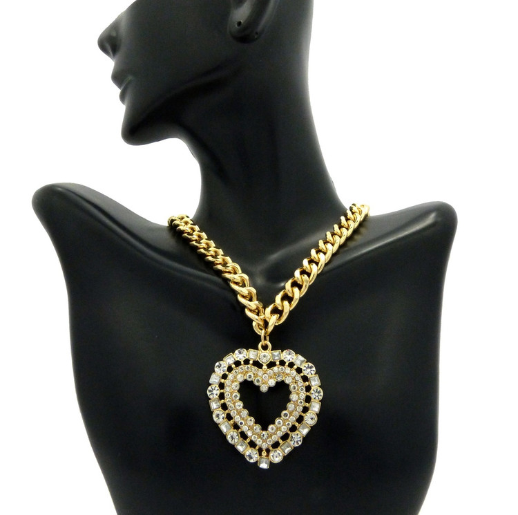 Ladies Big Love Diamond Cz Heart Chain Necklace Gold