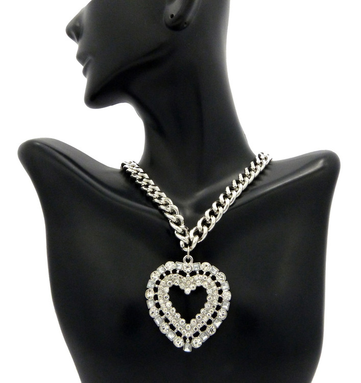 Ladies Big Love Diamond Cz Heart Chain Necklace Silver