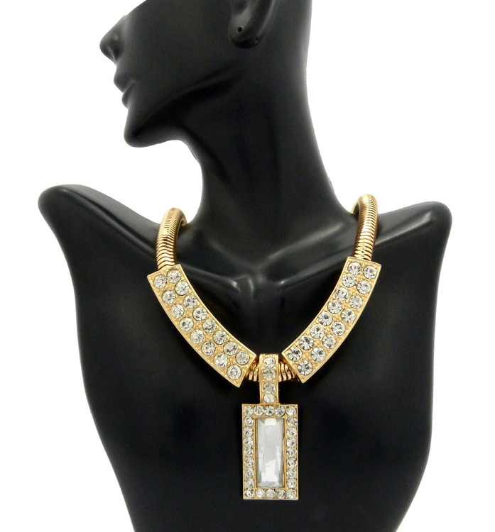 Ladies Diamond CZ Snake Chain Necklace & Pendant Gold