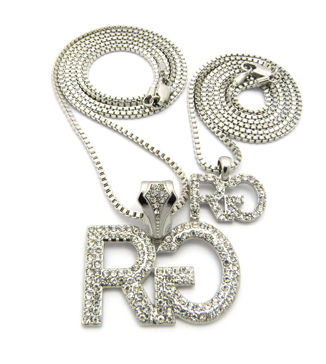 Men's Hip Hop Rich Gang Cz Stone Pendant Chain Necklace Silver
