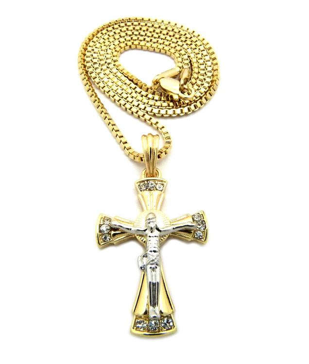 Mens Diamond Cz Beautiful Jesus Cross Pendant Chain Two Tone