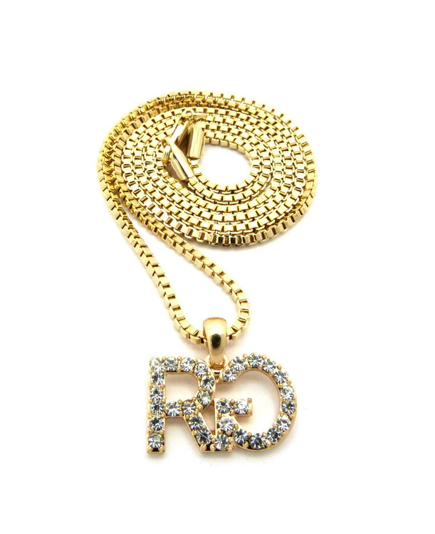 Iced Out Rich Gang Inspired Hip Hop Chain Pendant Gold