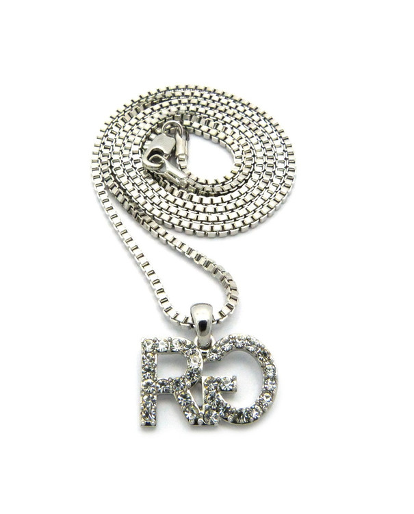 Iced Out Rich Gang Inspired Hip Hop Chain Pendant Silver