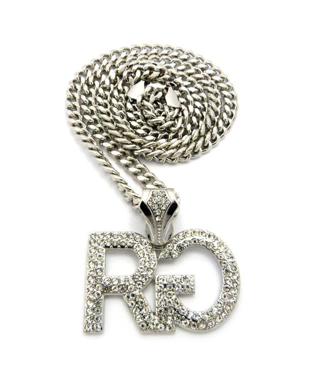 Hip Hop Rich Gang Chain Pendant w/ Miami Cuban Link Chain Silver