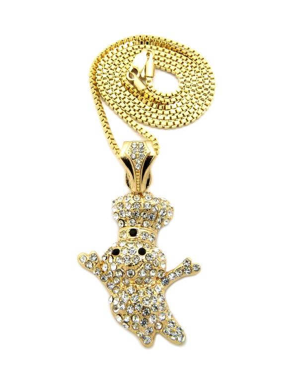 Iced Out Diamond Cz Dough Boy Pendant Box Chain Gold