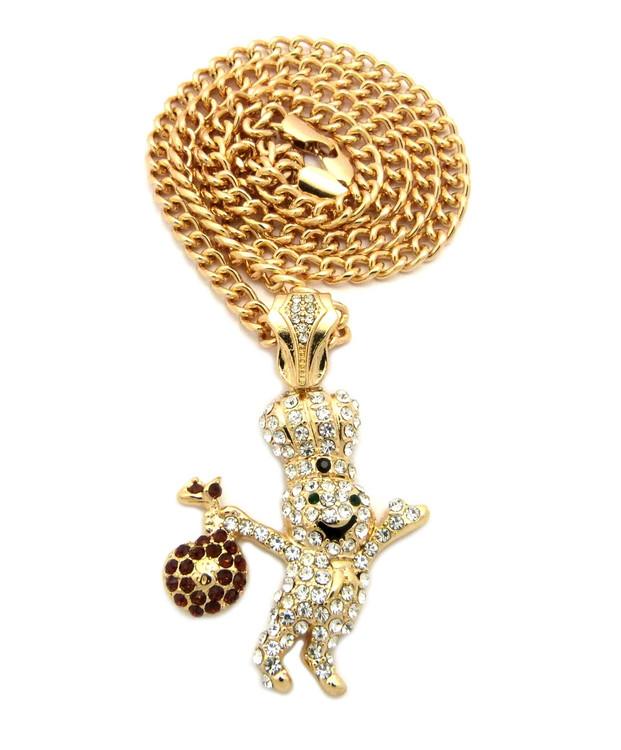 Hip Hop Diamond Cz Dough Boy Pendant w/ Cuban Link Chain Gold