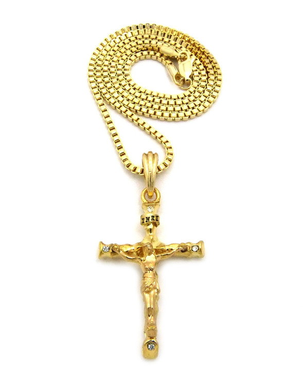 14K Gold Ancient Log Cross Pendant Box Chain Necklace