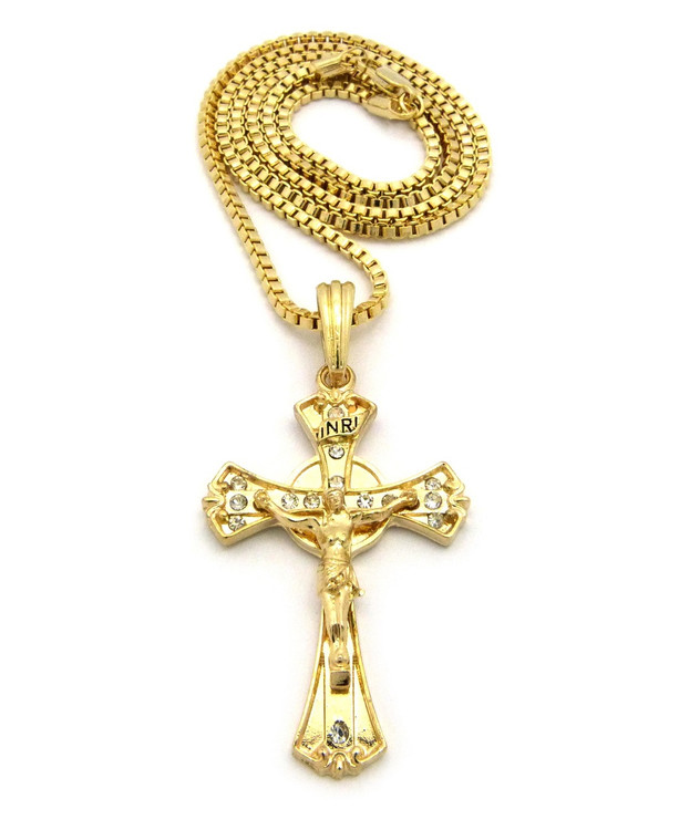14k Gold Ancient Deep Set Circle Cross Pendant Box Chain