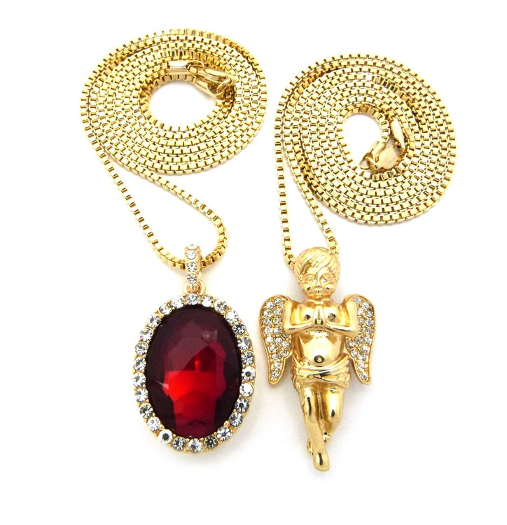 Hip Hop Micro Ruby Angel Cherub Pendant w / Box Chain Necklace