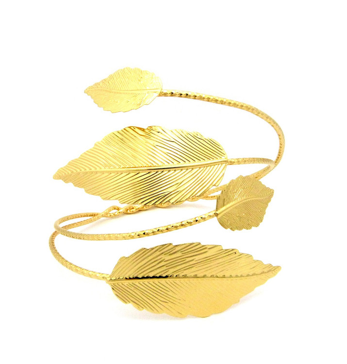 Ladies Gold Leaf Arm Strechable Cuff Bracelet