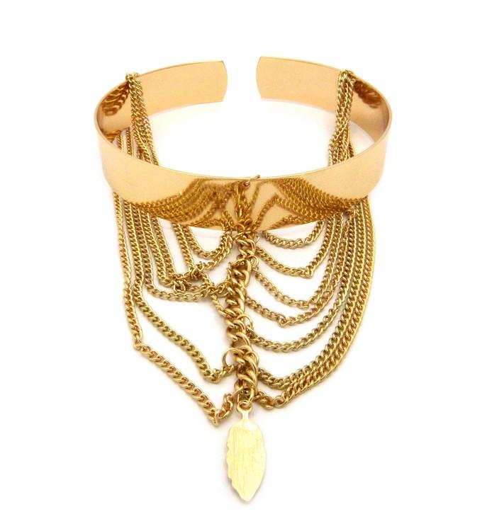 Sexy Slave Chandelier Arm Cuff Bracelet Gold