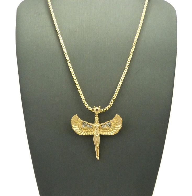 14k Gold Goddess Isis Ancient Egyptian Diamond Cz Pendant