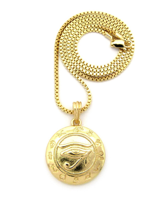 14k Gold Egyptian Udjat Eye of Horus Ra Box Chain Pendant