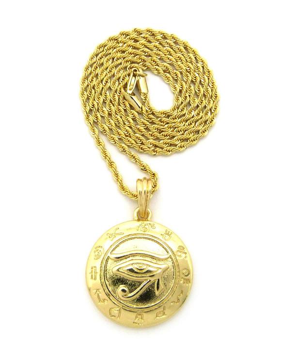 Kemetic Jewelry Egyptian Udjat Eye of Horus Ra Rope Chain Pendant
